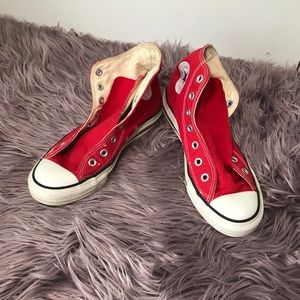 Red and White High Top Chuck Taylor's